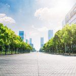 Cidade Jardim: edifícios modernos próximos de árvores