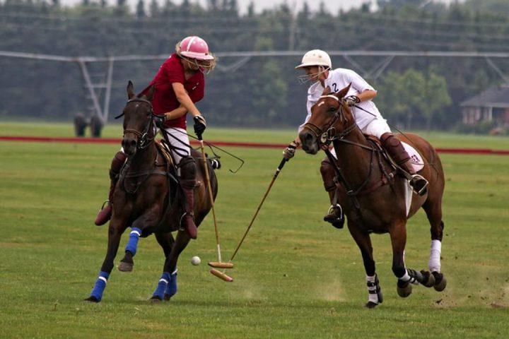 Dois jogadores concorrendo a uma partida de Polo