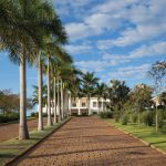 Alameda de palmeiras que leva ao Club Social