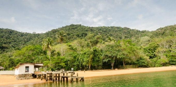 Imagem aberta da praia com árvores e montanhas ao fundo, em Angra dos Reis