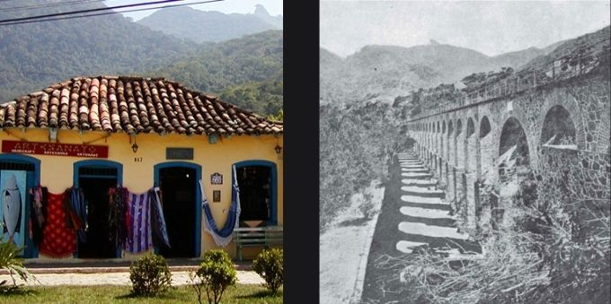 Angra dos Reis: imagem lado a lado. Da esquerda para direita: imagem de casa na Vila Abraão. Na direita, imagem em preto e branco das ruínas do presídio Cândido Mendes