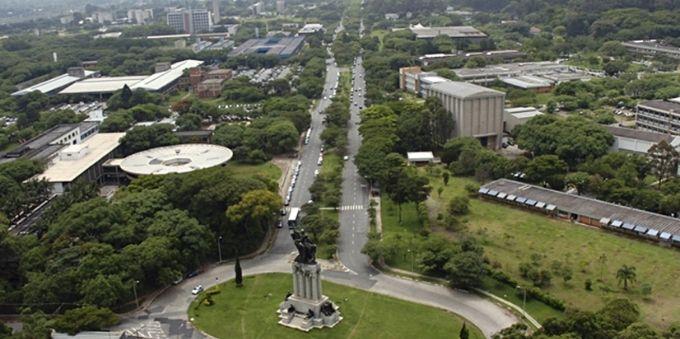Interior de São Paulo: vista aérea da Avenida Professor Luciano Gualberto, no campus da USP