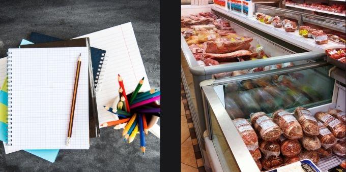 Morumbi e arredores: imagem da esquerda mostra cadernos e lápis de cor. Imagem da direita mostra geladeira de açougue com carnes