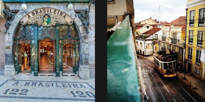 Imagem na direita mostra fachada do café A Brasileira. Imagem a esquerda mostra bondinho na rua de Lisboa