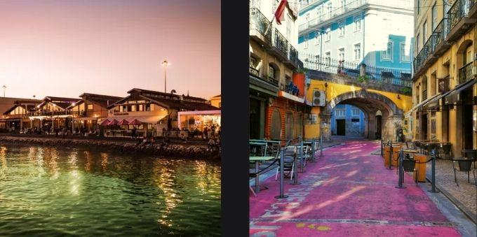 Imagem da esquerda mostra Cais de Sondré ao entardecer. Imagem da direita mostra rua com chão cor de rosa, em Lisboa