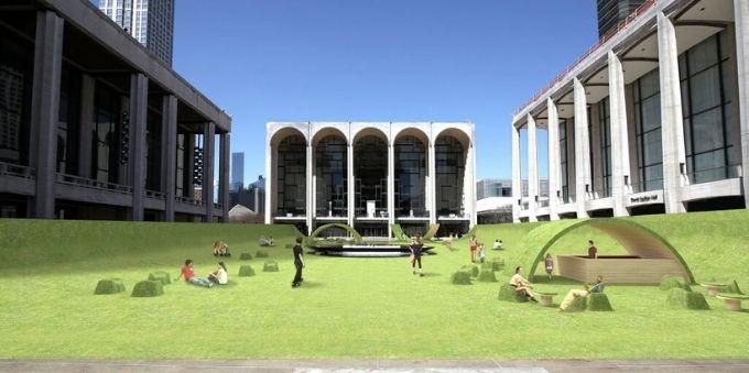 Nova York: imagem gráfica do jardim The Green, mostra céu aberto e espaço gramado