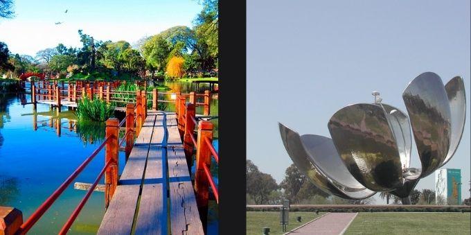 Buenos Aires: na esquerda, imagem mostra ponte sobre lago. Na direita, imagem mostra obra de flor metálica