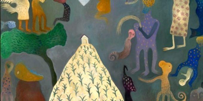 Imagem de obra de arte que mostra figuras desenhadas, desconexas de sentido, com um morro e uma casa no alto. Localizada no The Caribbean Cultural Institute, em Miami