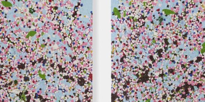 Paris: imagem de obra de arte floral feita em pontilhismo