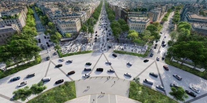 Paris: imagem vista de cima de rua arborizada e circulação de carros no Champs-Élysées